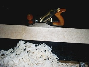 wood shavings, maple and bench plane